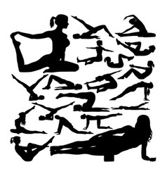 Pilates pose silhouettes vector
