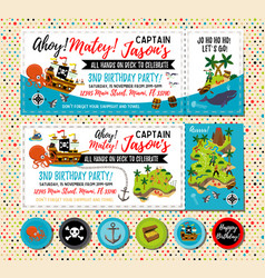 Pirate birthday invitation treasure map vector