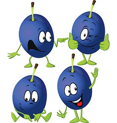 Plum cartoon with hands and legs standing isolated vector
