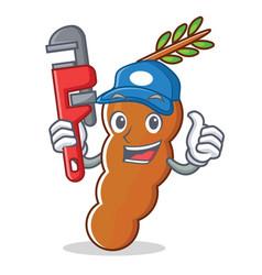 Plumber tamarind mascot cartoon style vector