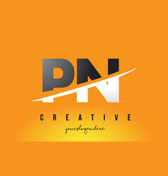 Pn p n letter modern logo design with yellow vector