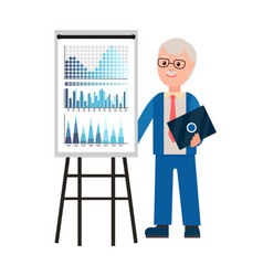 presentation of old professor with laptop gadget vector image
