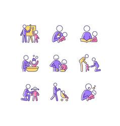 responsible parenthood rgb color icons set vector image