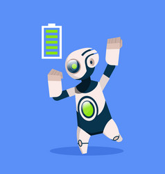 robot with full battery active isolated on blue vector image