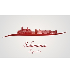 Salamanca skyline in red vector image