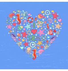 Sea life heart background vector