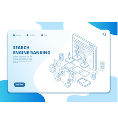 search engine ranking landing page seo marketing vector image