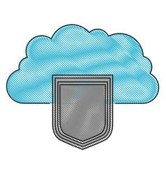Server hosting storage icon in color crayon vector