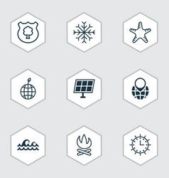 set of 9 ecology icons includes pin earth ocean vector image