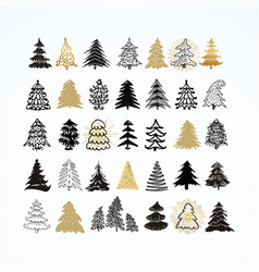 set of different elegant christmas trees design vector image