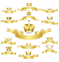 Set of golden crown with curves banner vector