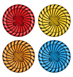 set of sewing buttons red orange blue and yellow vector image
