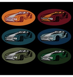 Set of vintage sport car vector