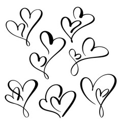 Set two lovers heart handmade calligraphy vector