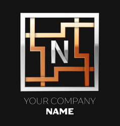 silver letter n logo in silver-golden square maze vector image