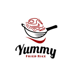 simple fried rice logo design template vector image