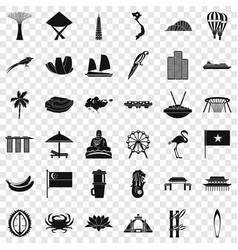 Singapore icons set simple style vector