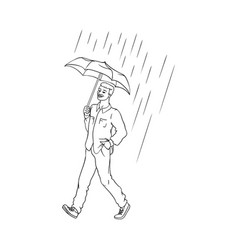sketch african man walking rain umbrella vector image