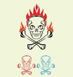 Skull fire tribal vector image