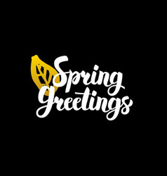 Spring greetings handwritten calligraphy vector