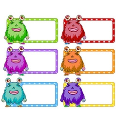 Square labels with colorful monster vector