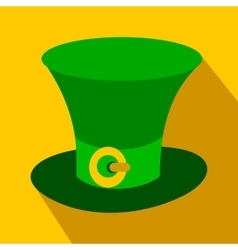St Patricks Day hat flat icon vector image