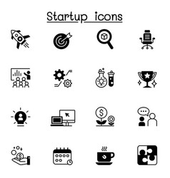 startup icon set graphic design vector image