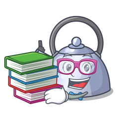Student with book stainless whistling tea kettle vector