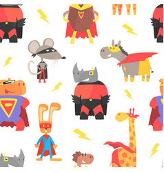superhero animals seamless pattern cute animal vector image