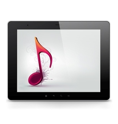 Tablet PC with music note vector image vector image