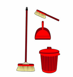 Trash and swept red vector