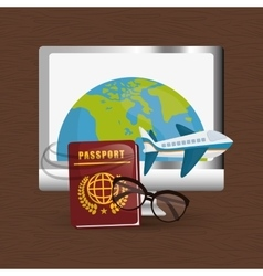 Travel world around technology plane password vector