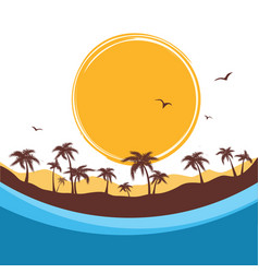 Tropical island paradise background with palms vector