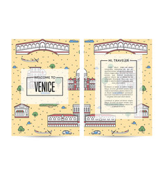venice traveling banners set in linear style vector image