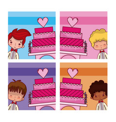 Wedding boyfriend with cake vector