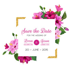 Wedding invitation template with hibiscus flowers vector