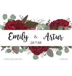 Wedding invite invitation with red roses vector