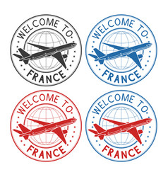 welcome to france travel stamps set with plane vector image