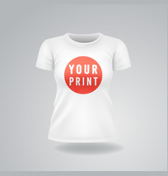 white woman t-shirt with short sleeves mock up vector image