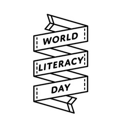 World literacy day greeting emblem vector