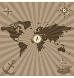 World map with nautical symbols vector image