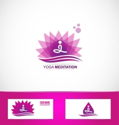 Yoga meditation lotus flower logo vector image