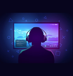 young gamer playing video game on a screen vector image