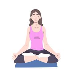 young woman doing yoga girl sitting on floor in vector image