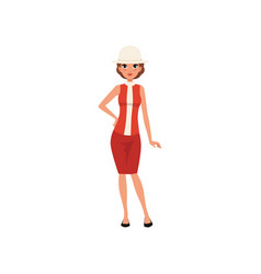 beautiful young woman in red dress and white hat vector image