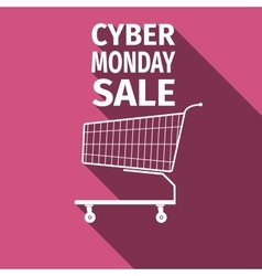 Cyber monday sale shopping cart flat icon with vector
