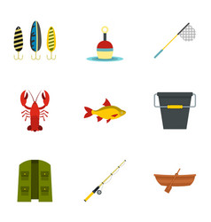 fisheries icons set flat style vector image