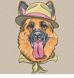 hipster dog breed German shepherd vector image