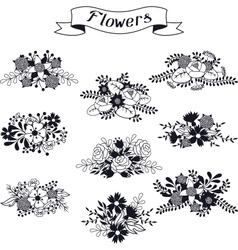Set of floral bouquets various flowers in retro vector image