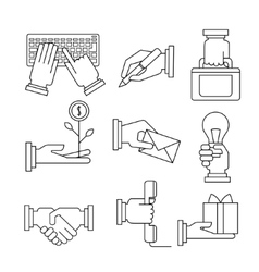 Business Icons Set With Hands in Linear Style vector image vector image